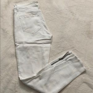 Fashion Nova Side Eye Zip Jeans White